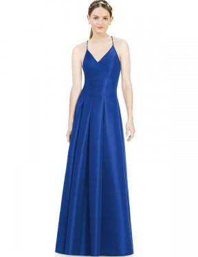 A-Line V-Neck Spaghetti Straps Floor Length Long Royal Blue Satin Everleigh Bridesmaid Dress for Sale
