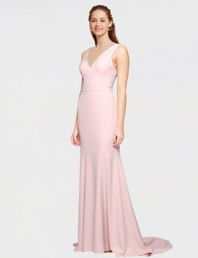 A-Line V-Neck Sweep Train Floor Length Long Pink Stretch Crepe Polly Bridesmaid Dress for Sale