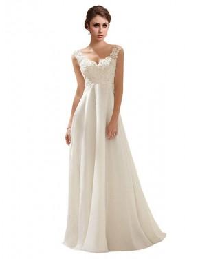 A-Line V-Neck Sweep Train Long Ivory Chiffon & Lace Juliana Wedding Dress for Sale