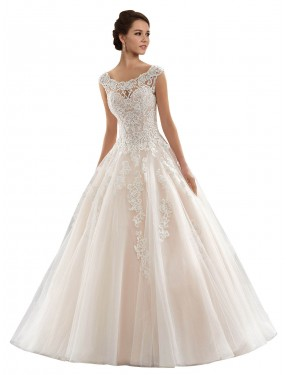 Ball Gown Bateau Chapel Train Long Ivory & Champagne Lace & Tulle Laila Wedding Dress for Sale