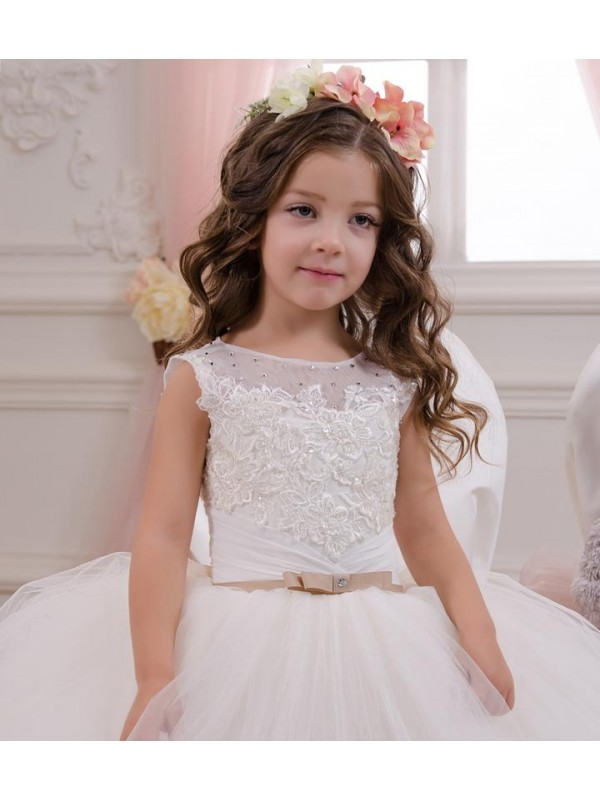 Ball Gown Bateau Chapel Train Long Ivory Lace & Tulle Flower Girl Dress for Sale