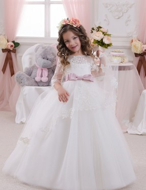 Ball Gown Bateau Chapel Train Long Ivory Lace & Tulle Flower Girl Dress