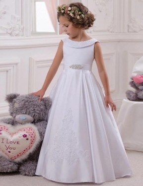 Ball Gown Bateau Floor Length Long Ivory Satin & Lace Flower Girl Dress for Sale