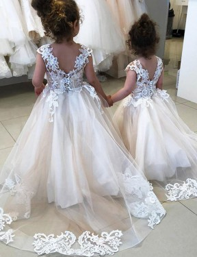 Ball Gown Chapel Train Long Ivory Lace & Tulle Flower Girl Dress
