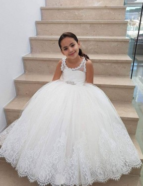 Ball Gown Floor Length Long Ivory Lace & Tulle Flower Girl Dress for Sale