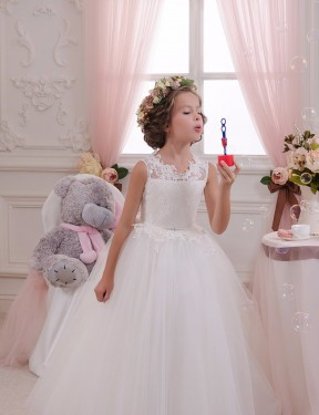 Ball Gown High Neck Floor Length Long Ivory Lace & Tulle Flower Girl Dress