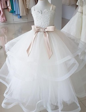 Ball Gown High Neck Floor Length Long Ivory Lace & Tulle Flower Girl Dress for Sale