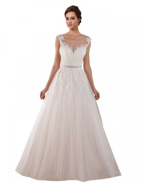 Ball Gown Illusion Chapel Train Long Ivory Tulle Rosalie Wedding Dress