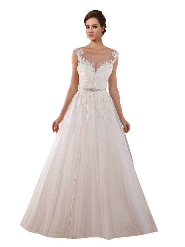 Ball Gown Illusion Chapel Train Long Ivory Tulle Rosalie Wedding Dress for Sale