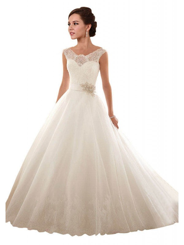Ball Gown Off the Shoulder Chapel Train Long White Lace & Tulle Arabella Wedding Dress for Sale