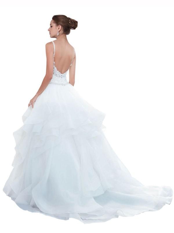 Ball Gown Spaghetti Straps Chapel Train Long White Organza Journee Wedding Dress for Sale