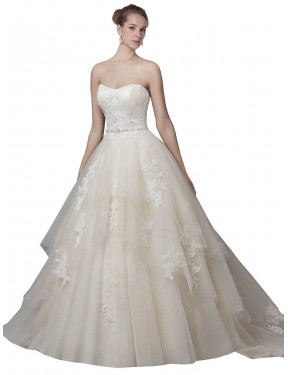 Ball Gown Strapless Chapel Train Long Ivory Tulle Elaina Wedding Dress for Sale