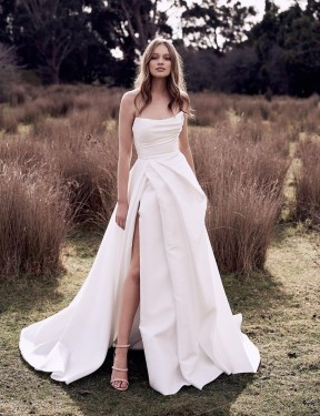 Ball Gown Strapless Scoop Chapel Train Long Ivory Satin Wedding Dress for Sale