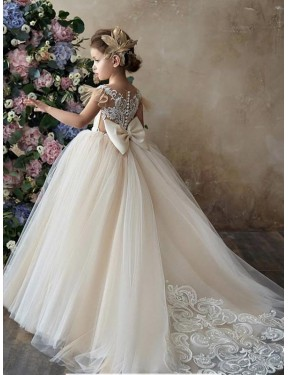Ball Gown Sweetheart Chapel Train Long Champagne Lace & Tulle Flower Girl Dress for Sale