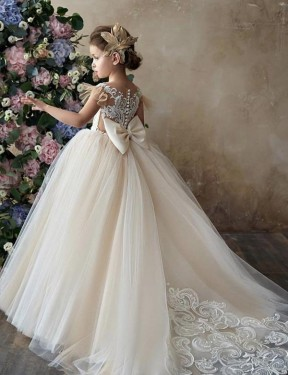 Ball Gown Sweetheart Chapel Train Long Champagne Lace & Tulle Flower Girl Dress