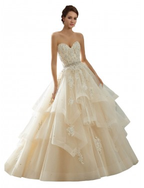 Ball Gown Sweetheart Chapel Train Long Ivory & Champagne Lace Adaline Wedding Dress for Sale