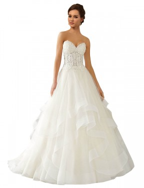 Ball Gown Sweetheart Chapel Train Long Ivory Lace & Satin & Tulle Reese Wedding Dress