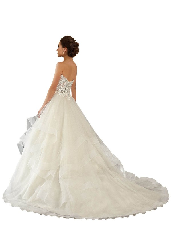 Ball Gown Sweetheart Chapel Train Long Ivory Lace & Satin & Tulle Reese Wedding Dress for Sale