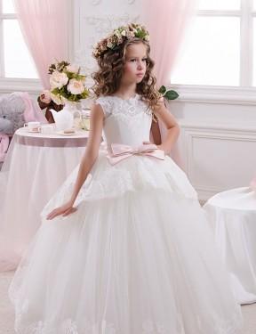 Ball Gown Sweetheart Chapel Train Long Ivory Lace & Tulle Flower Girl Dress