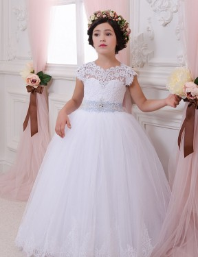 Ball Gown Sweetheart Chapel Train Long Ivory Lace & Tulle Flower Girl Dress for Sale