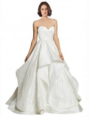 Ball Gown Sweetheart Chapel Train Long Ivory Taffeta Haven Wedding Dress