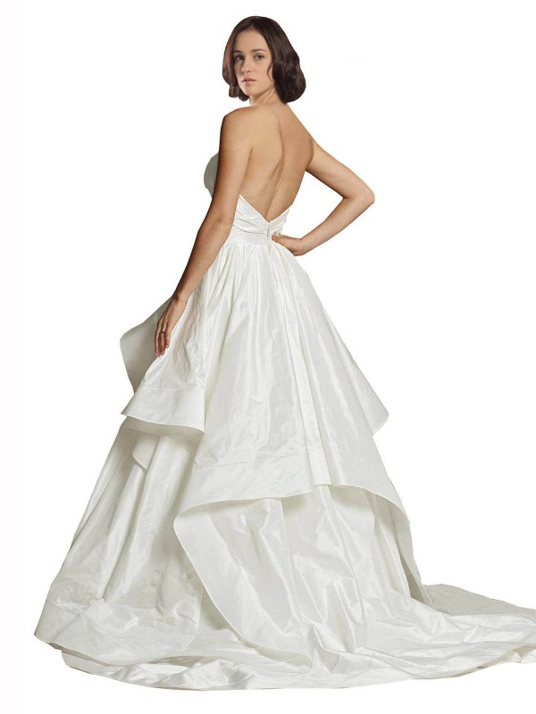 Ball Gown Sweetheart Chapel Train Long Ivory Taffeta Haven Wedding Dress for Sale