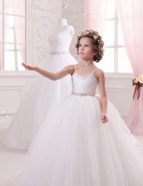 Ball Gown Sweetheart Chapel Train Long Ivory Tulle Flower Girl Dress