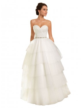 Ball Gown Sweetheart Chapel Train Long Ivory Tulle Molly Wedding Dress for Sale