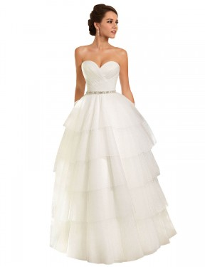 Ball Gown Sweetheart Chapel Train Long Ivory Tulle Molly Wedding Dress