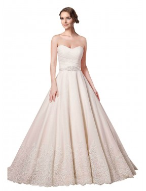 Ball Gown Sweetheart Chapel Train Short Ivory Lace Adelynn Wedding Dress for Sale