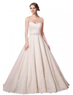 Ball Gown Sweetheart Chapel Train Short Ivory Lace Adelynn Wedding Dress