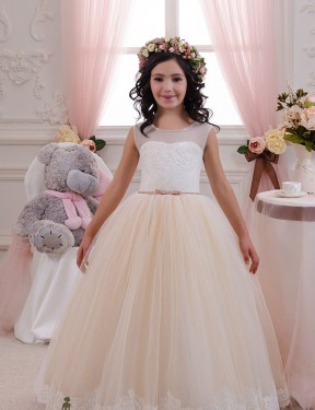 Ball Gown Sweetheart Floor Length Long Ivory & Champagne Lace & Tulle Flower Girl Dress