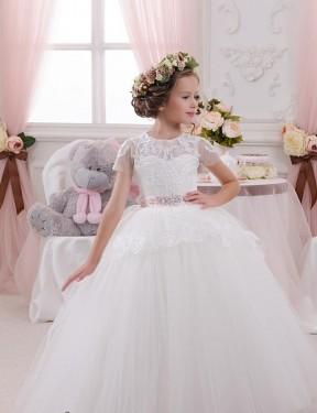 Ball Gown Sweetheart Floor Length Long Ivory Lace & Tulle Flower Girl Dress