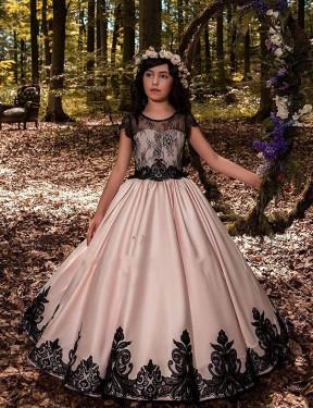 Ball Gown Sweetheart Floor Length Long Ivory Satin & Lace Flower Girl Dress