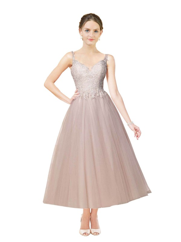 Ball Gown Sweetheart Tea Length Short Ivory & Champagne Tulle Daleyza Wedding Dress for Sale