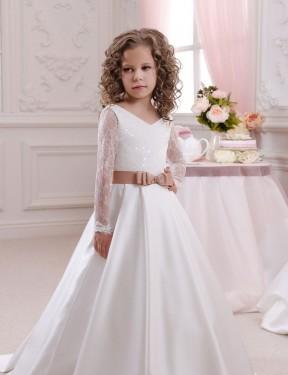 Ball Gown V-Neck Chapel Train Long Ivory Satin & Lace Flower Girl Dress