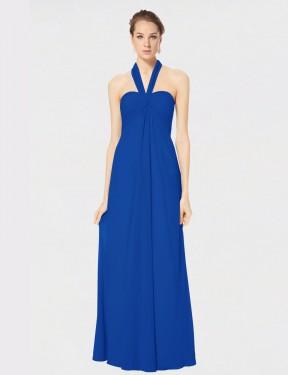 Empire Halter Floor Length Long Royal Blue Chiffon Kennedy Bridesmaid Dress for Sale