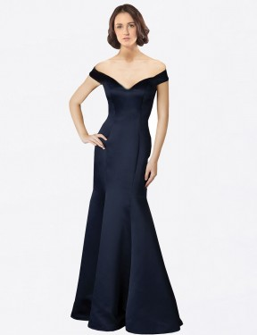 Fit and Flare Off the Shoulder V-Neck Floor Length Long Dark Navy Satin Bailey Bridesmaid Dress for Sale