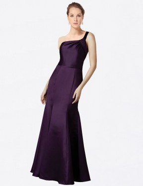 Fit and Flare One Shoulder Floor Length Long Grape Satin Raelynn Bridesmaid Dress for Sale