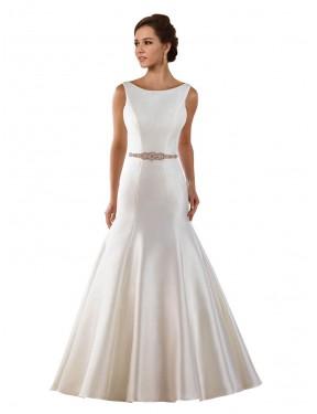 Mermaid Bateau Chapel Train Long Ivory Lace Ayla Wedding Dress for Sale