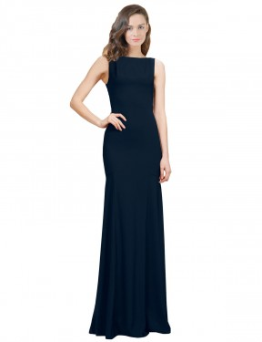 Mermaid Bateau Floor Length Long Dark Navy Stretch Crepe Donisha Bridesmaid Dress for Sale