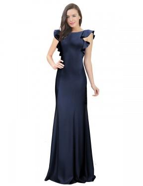 Mermaid Bateau Floor Length Long Dark Navy Stretch Crepe Kiley Bridesmaid Dress for Sale