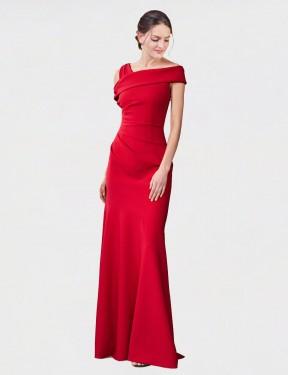 Mermaid Cross Shoulder Floor Length Long Red Stretch Crepe Nicola Bridesmaid Dress for Sale
