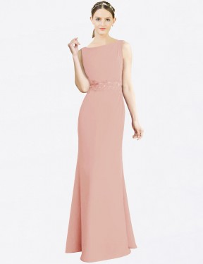 Mermaid Fit and Flare Bateau High Neck Floor Length Long Bliss Chiffon Latika Bridesmaid Dress for Sale