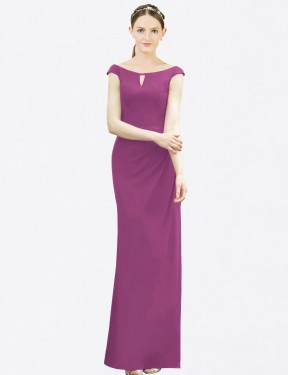 Mermaid Fit and Flare Bateau High Neck Floor Length Long Wild Berry Chiffon Emilee Bridesmaid Dress for Sale