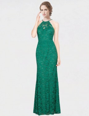 Mermaid Fit and Flare Halter High Neck Floor Length Long Dark Green Lace Giovanna Bridesmaid Dress for Sale