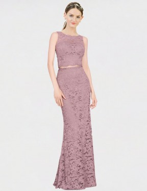 Mermaid Fit and Flare Illusion Neckline Floor Length Long Pink Lace Calliope Bridesmaid Dress for Sale