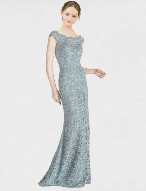 Mermaid Fit and Flare Off the Shoulder Floor Length Long Blue Lace Kai Bridesmaid Dress for Sale