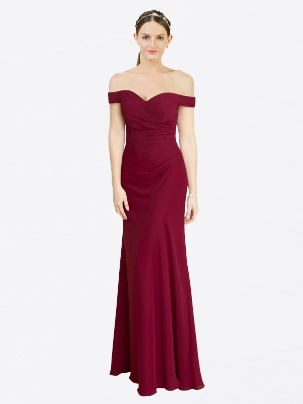 Mermaid Fit and Flare Off the Shoulder Floor Length Long Burgundy Chiffon Carolyn Bridesmaid Dress for Sale