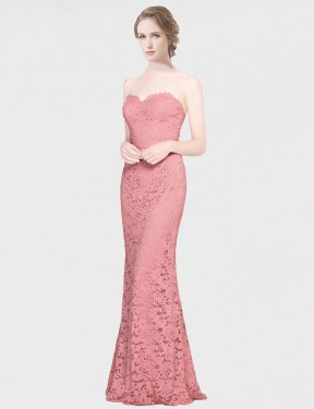 Mermaid Fit and Flare Strapless Sweetheart Floor Length Long Pink Lace Joselyn Bridesmaid Dress for Sale